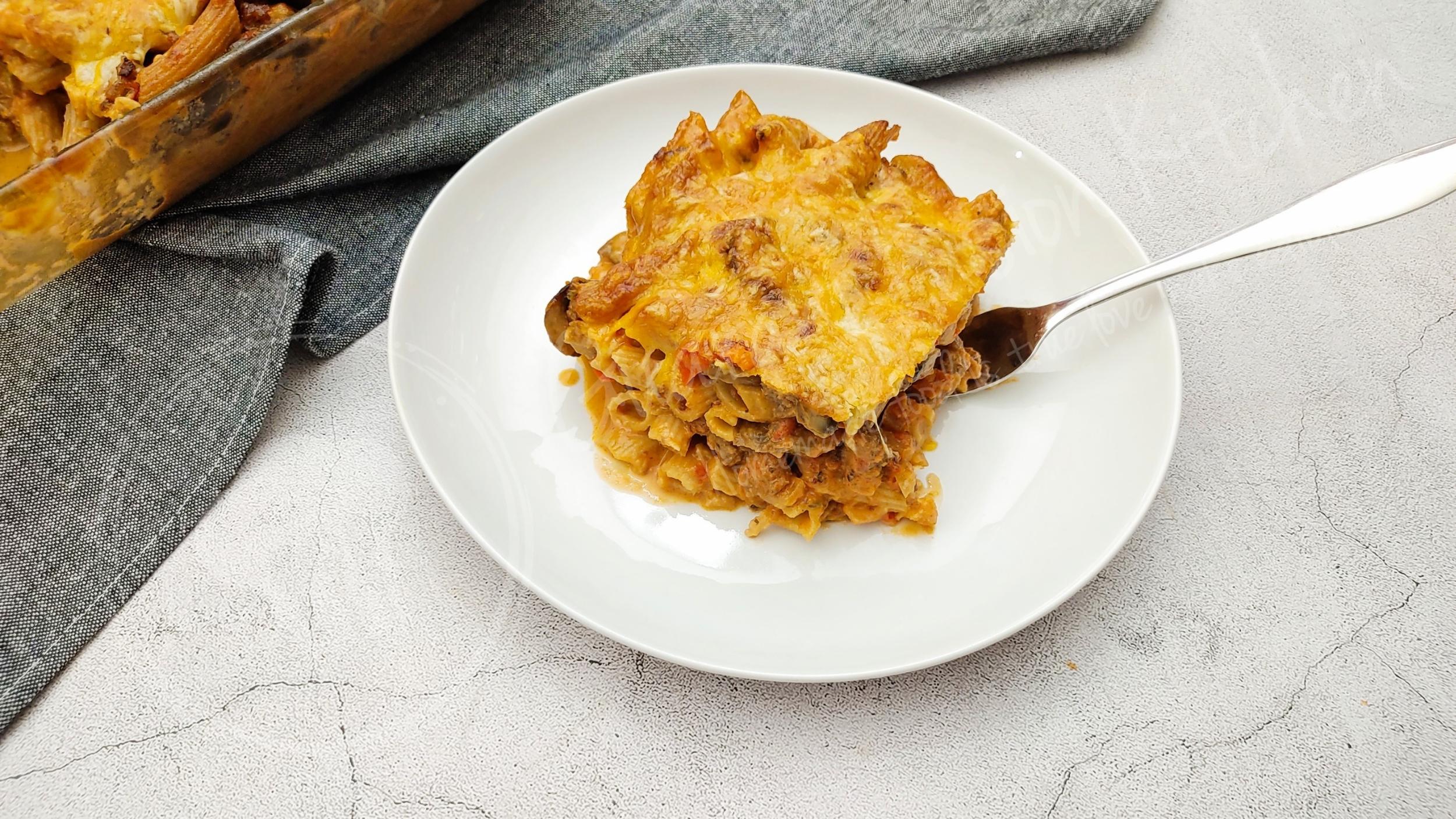 Baked Ziti with Italian Sausage and Mushrooms